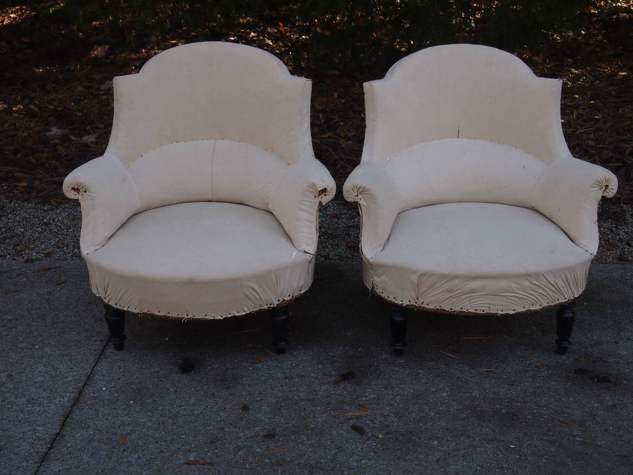 Lovely lines on this pair of French Salon Chairs with their original muslin.