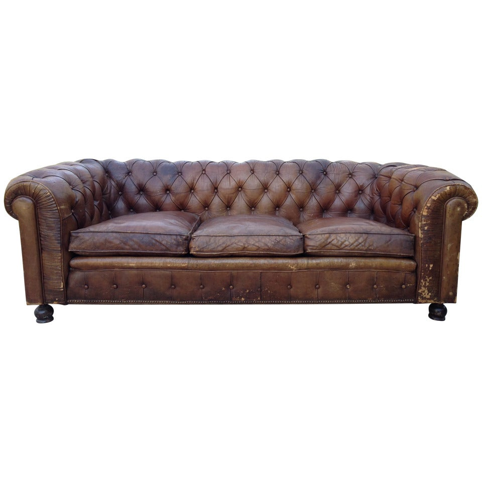 1930s French Leather Chesterfield Sofa For Sale