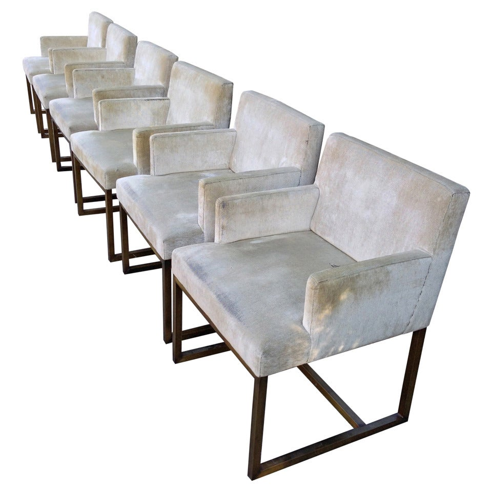 Three Pairs of Mid-Century Swedish Brass Chairs For Sale
