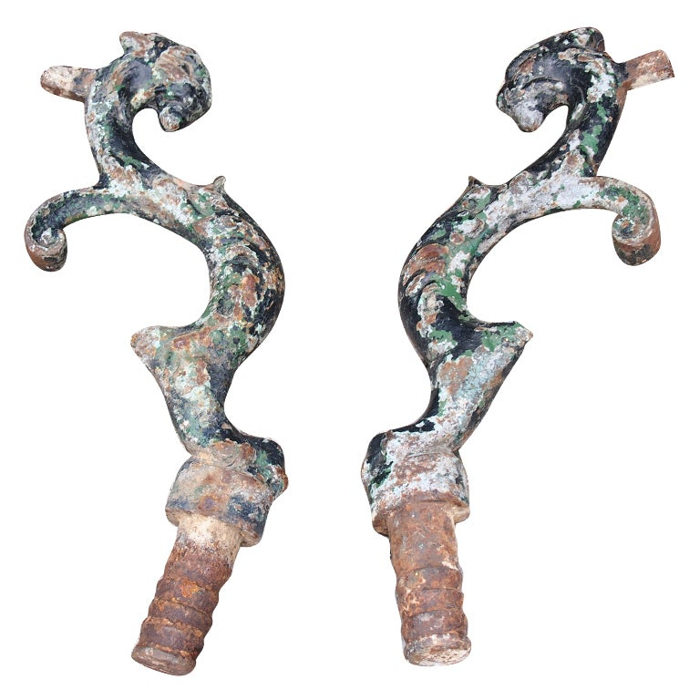 Set of two 18th C. French Iron Street Door Stops For Sale