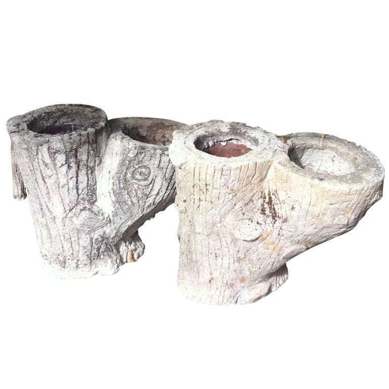 Pair  French Faux Bois Planters