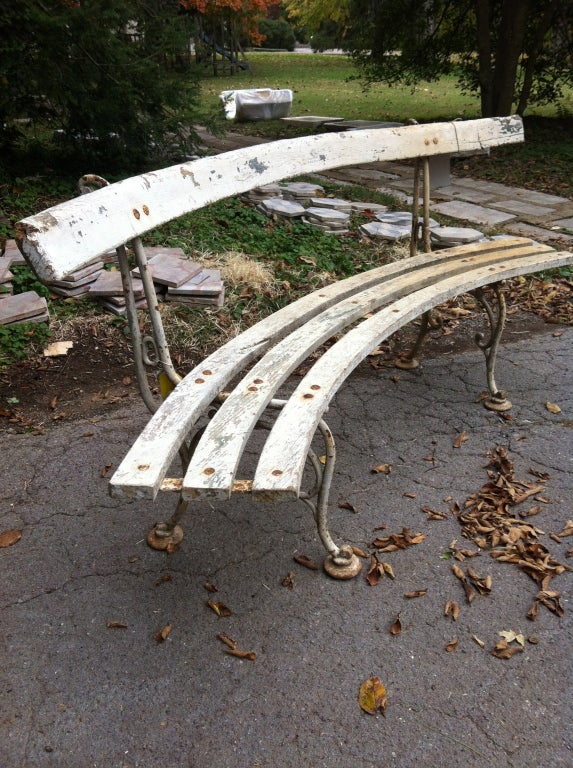 19th C Curved French Garden Bench At 1stdibs