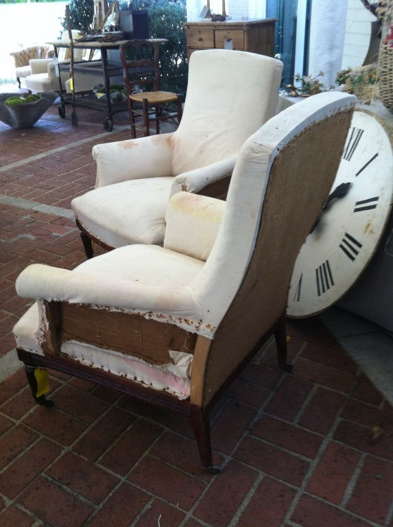 Pair of French Salon Chairs with original muslin 2
