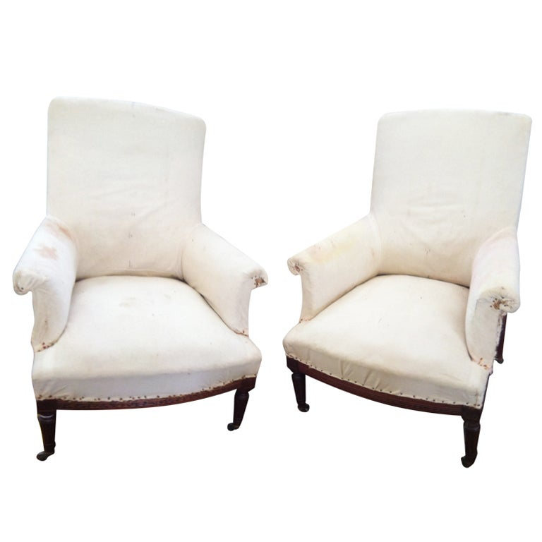 Pair of French Salon Chairs with original muslin 1