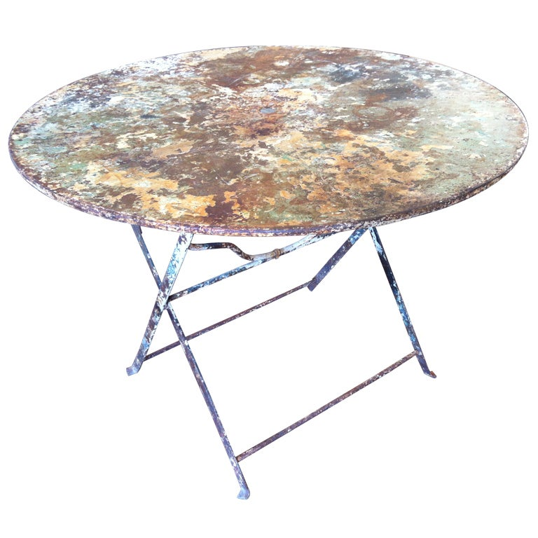 Antique French Folding Garden Table For Sale