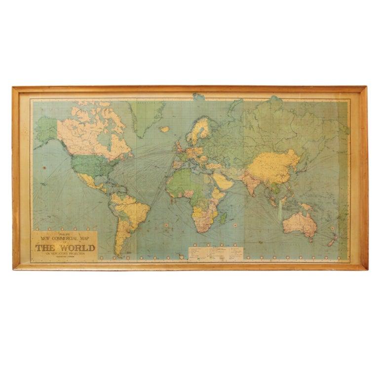 large framed world map at 1stdibs