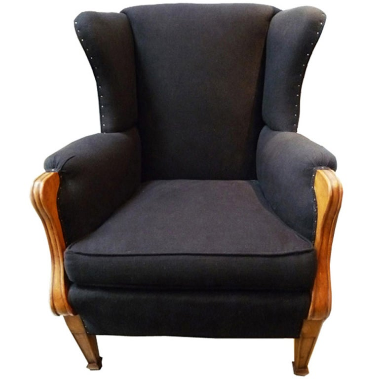 Black Wingback Chair at 1stdibs