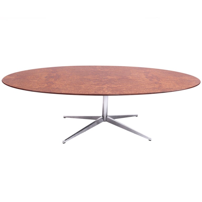 Vintage Oval Table With Wooden Top By Knoll At 1stdibs