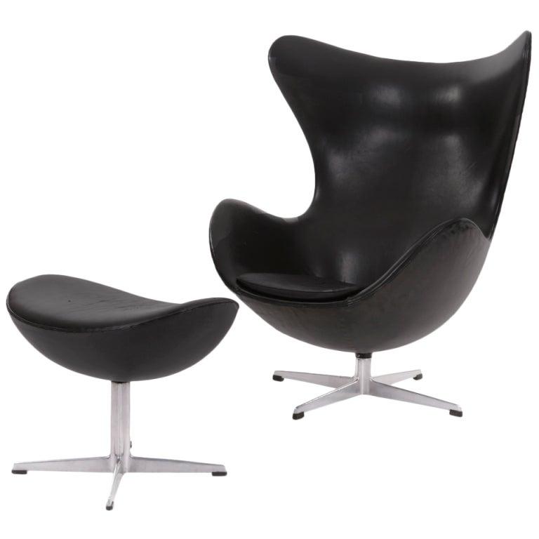 Vintage Black Egg Chair By Arne Jacobsen At 1stdibs