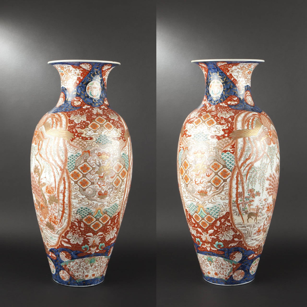 Large porcelain vase with imari decoration japan circa for Grand vase decoration salon