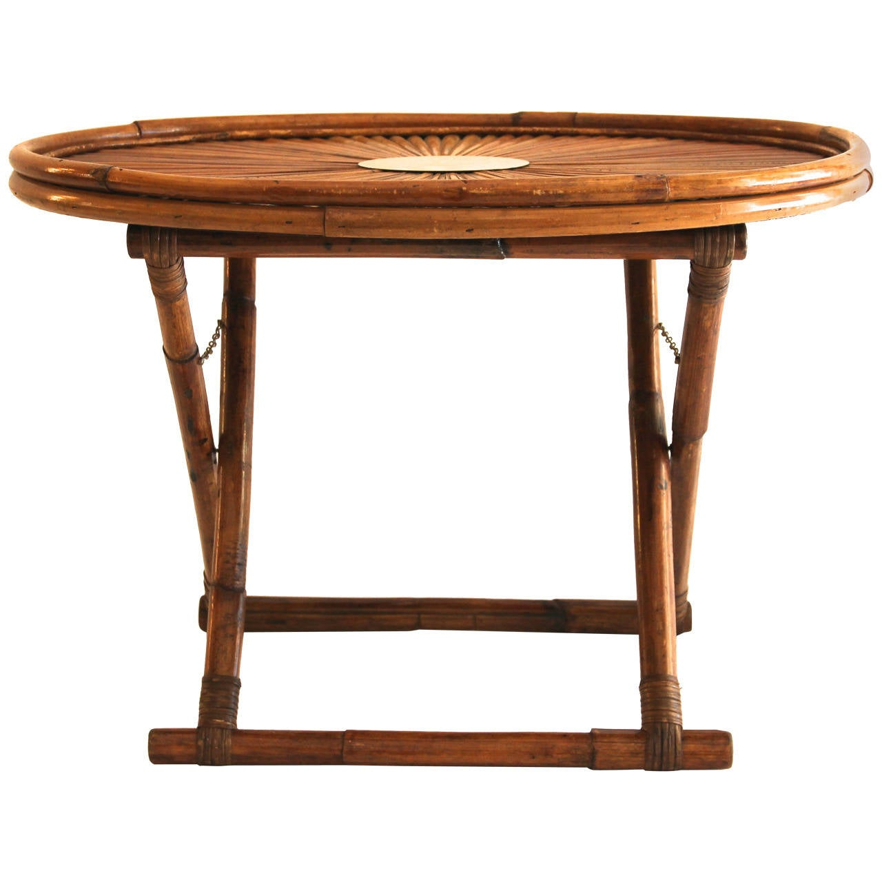 Folding Coffee Table By Gabriella Crespi Bamboo Circa 1970 Signed Italy For Sale At 1stdibs
