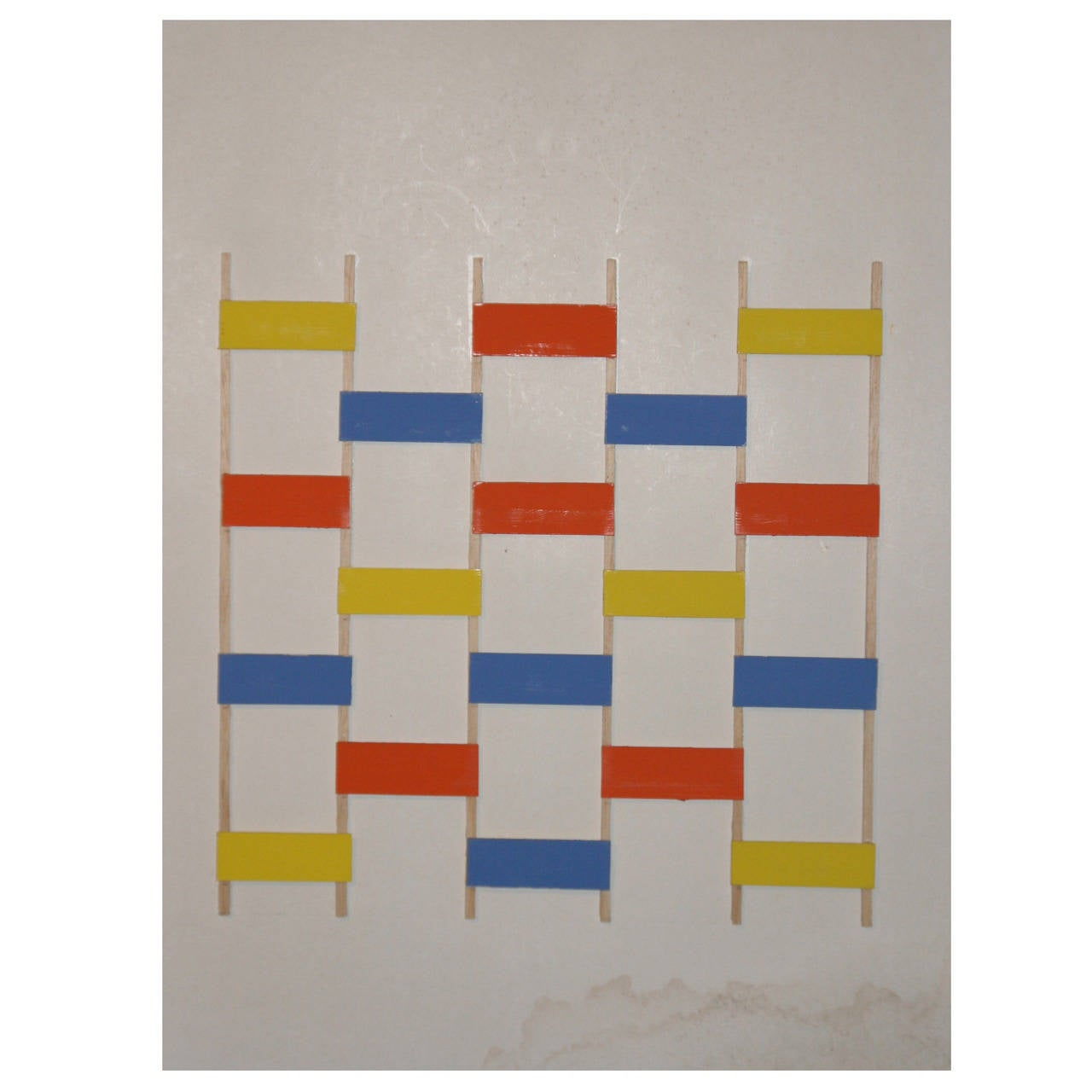 Painting by Albert Chubac, Wood Collage, circa 1980, Signed