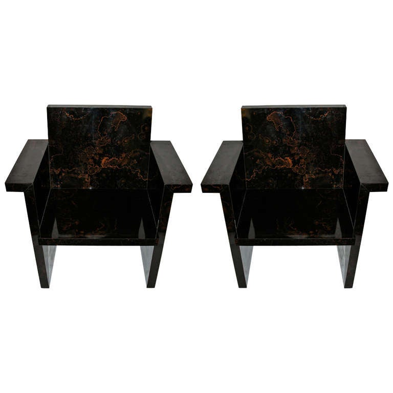 Pair of Formica Armchairs in Imitation of Marble, Circa 1970, France For Sale