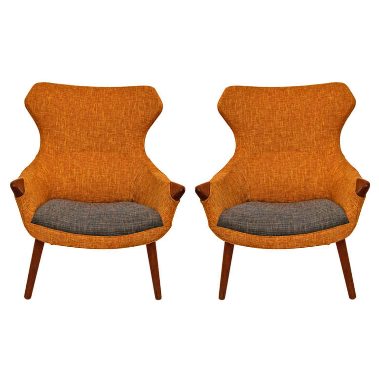 Pair Of Scandinavian Armchairs In The Style Of Hans Wegner