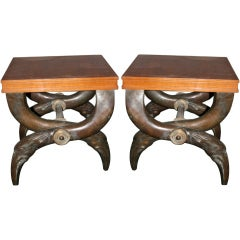 Pair of stools, bronze and pear tree wood, circa 1970, France