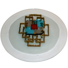 Angelo Brotto Style, wall sconce, bronze and Venini glass luster, circa 2000.
