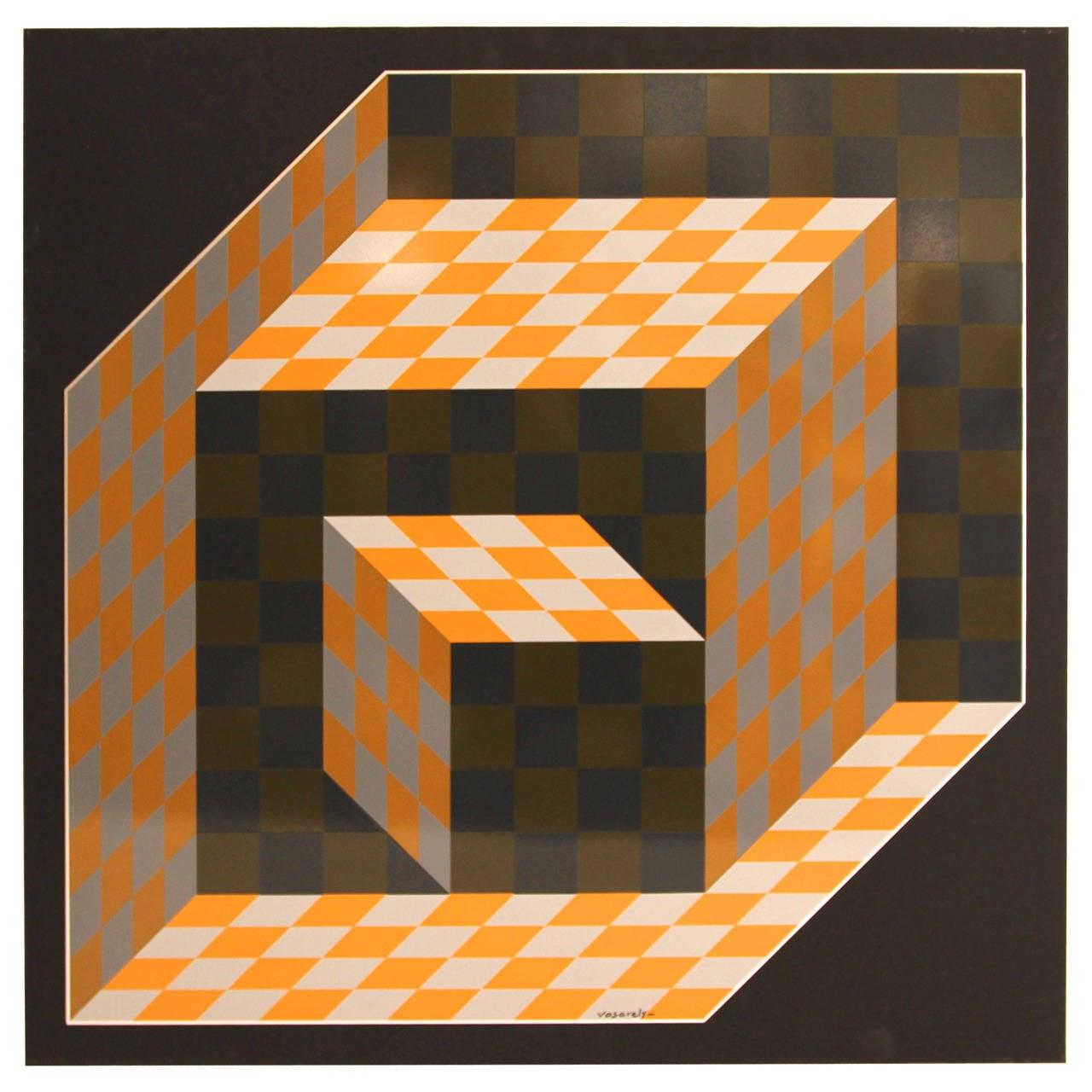 "Victor Vasarely, ""Axo"" Screen Printing on Aluminium, 1977, Signed"