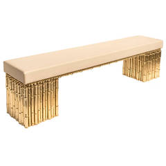 Ferruccio Laviani, Pair of Benches, Gold-Plated Brass, Italy, circa 2010