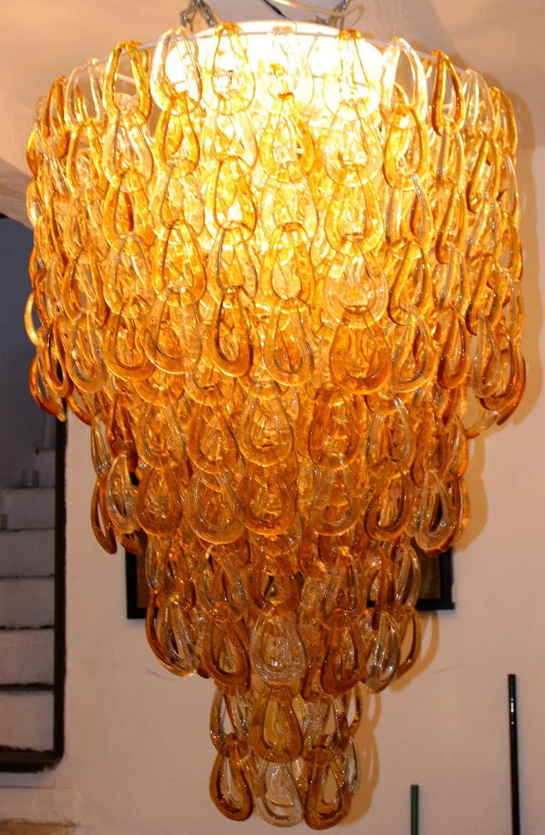 Mazzega style, Murano Glass chandelier, circa 1980, Italy. For Sale 2