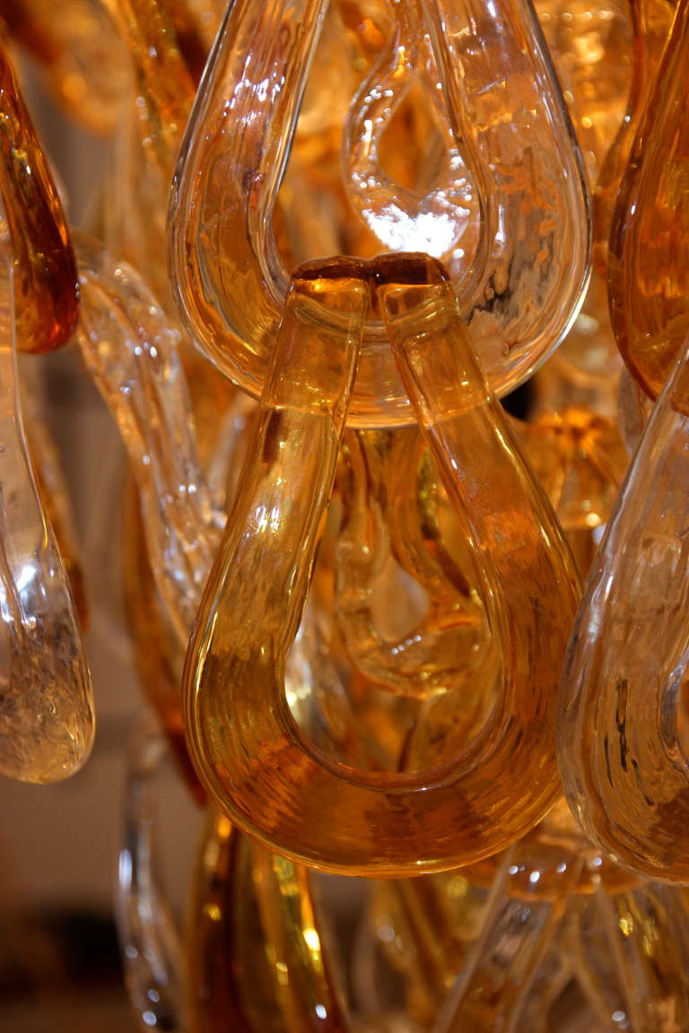 Late 20th Century Mazzega style, Murano Glass chandelier, circa 1980, Italy. For Sale
