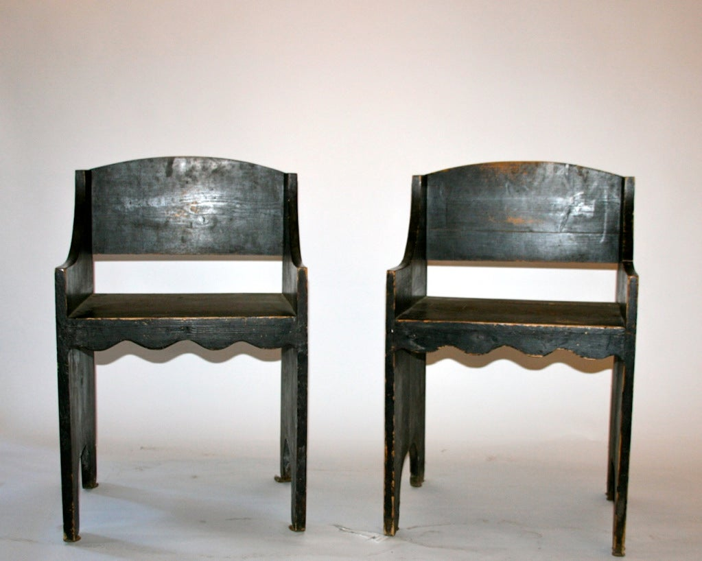 Vittorio Zecchin, Pair of Armchairs,wood, circa 1940, Italy. 2