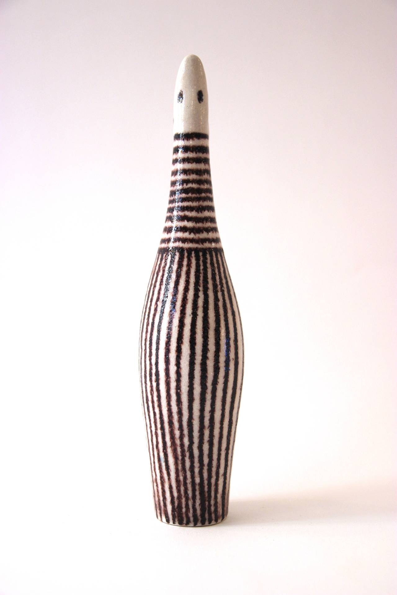 Italian Guido Gambone Signed Ceramic Bottle, Italy, circa 1960 For Sale