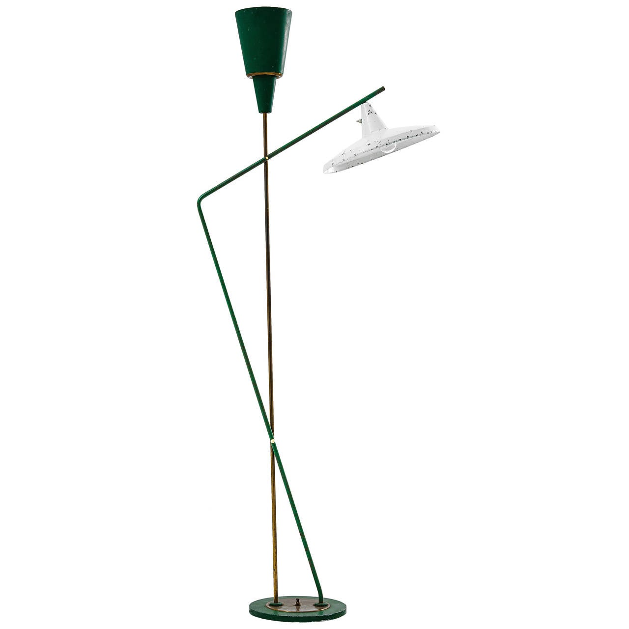 Floor Lamp, Marble, Lacquered Metal, Gilded Brass, circa 1950, Italy