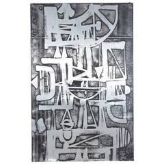 Nerone Patuzzi, NP2 Model, Large Engraving on Zinc, Signed, 1973, Italy.