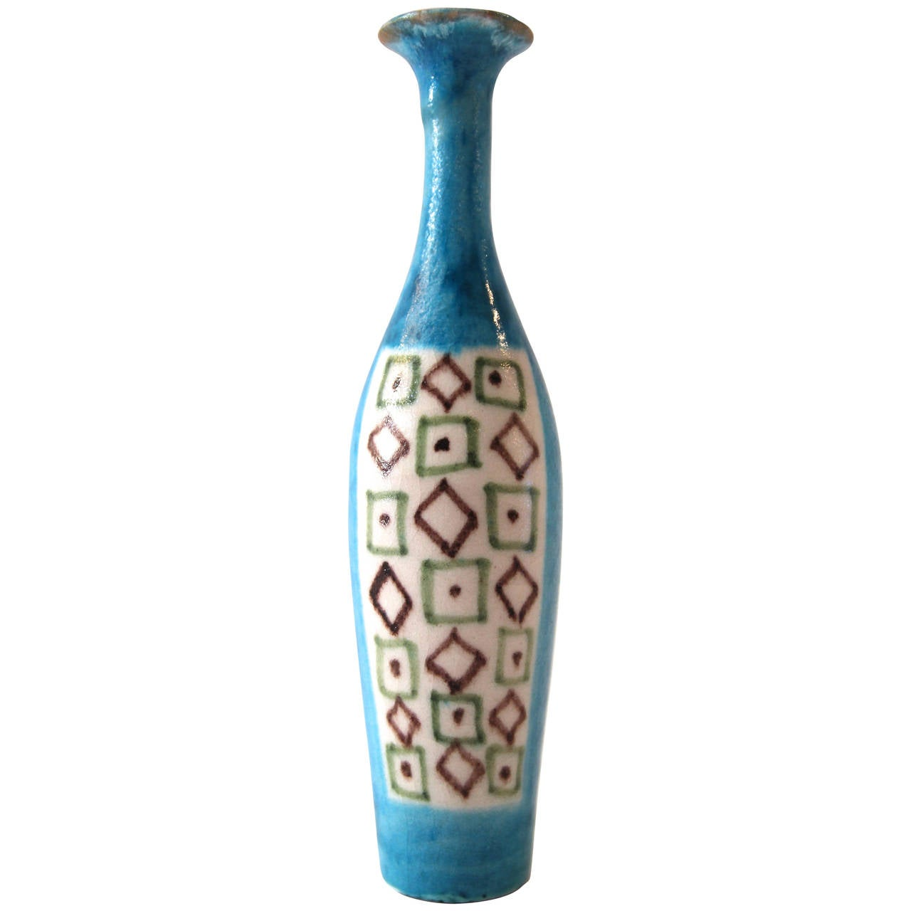 Guido Gambone Ceramic Bottle, Signed and Stamped, Italy, 1960