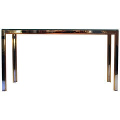 Romeo Gega Console, Gold-Plated Brass and Steel, circa 1970, Italy