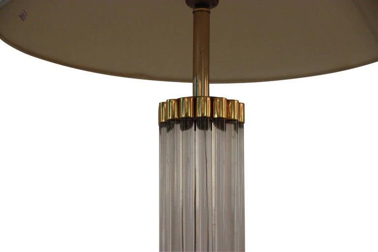 Gabriella Crespi, table lamp, Signed, circa 1970, Italy, Golden brass and plexiglass, engraved signature, circa 1970, Italy. Height: 75 cm, diameter: 45 cm.
