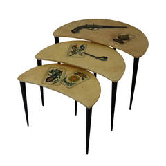 Aldo Tura, Set of Three Gigogne Tables Covered in Varnished Parchment