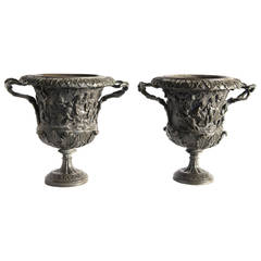 Pair of Carved Bronze Vases by M. Amodio, Naples, Grand Tour, circa 1880, Italy