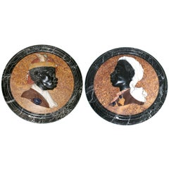 Pair of Medallions, Carved Marble and Semi-Precious Stones, circa 2000, Italy