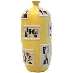 """Guido Gambone Ceramic Vase Signed """"Gambone,"""" Italy circa 1950"""