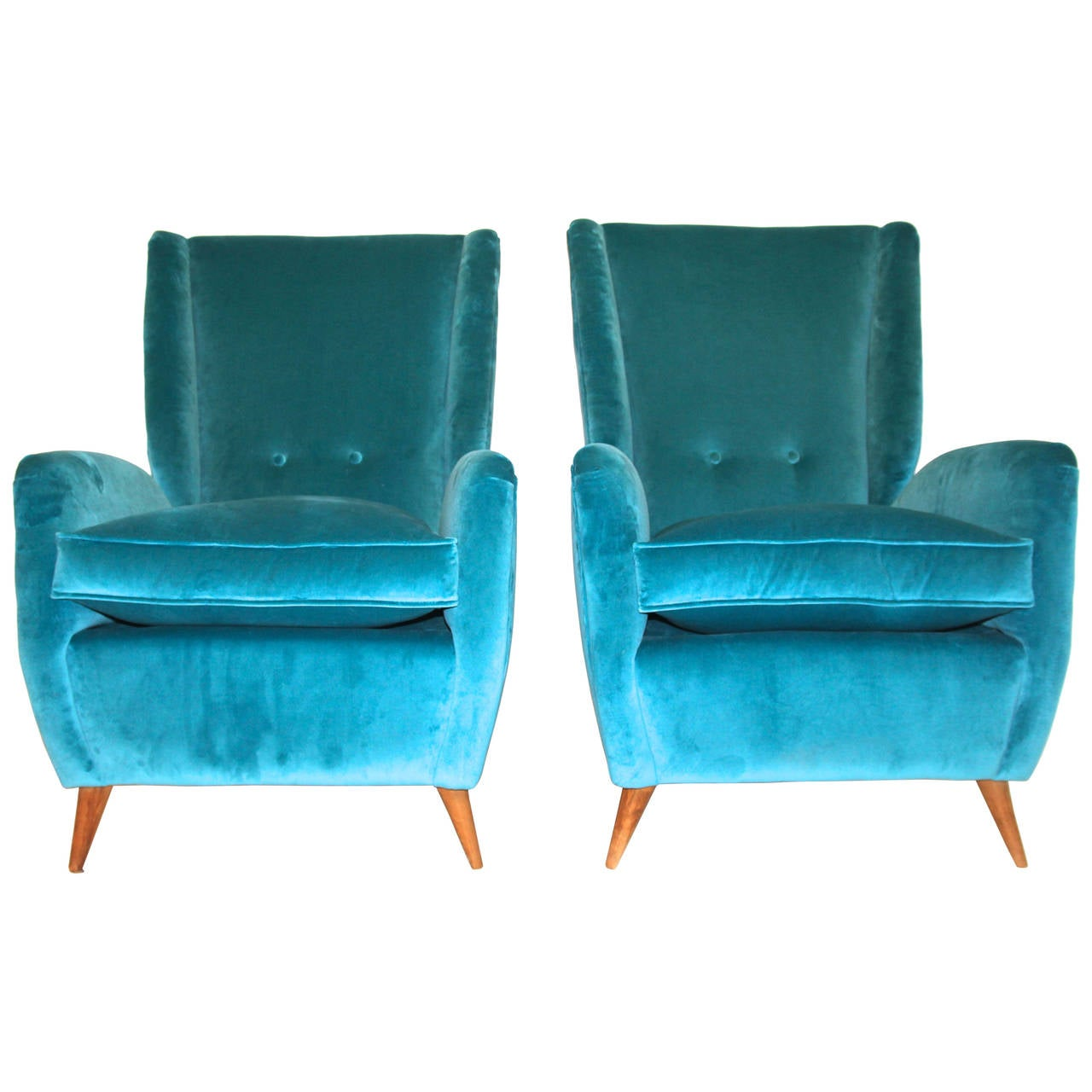 Pair of Armchairs by Gio Ponti, Textile and Wood Feet, circa 1950, Italy 1