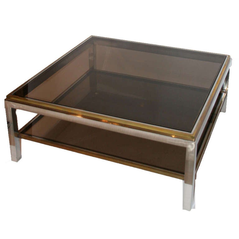 Gilt brass and chrome steel coffee table in the style of Willy Rizzo,circa 1970.