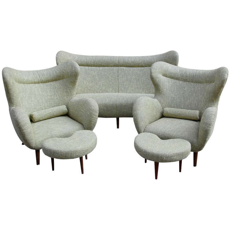 Sofa And Pair Of Armchairs In The Style Of Carlo Mollino Circa 1960
