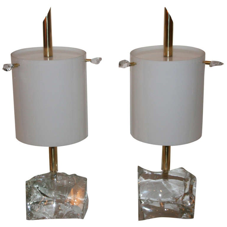 pair of lamps by roberto giulio rida crystal block. Black Bedroom Furniture Sets. Home Design Ideas