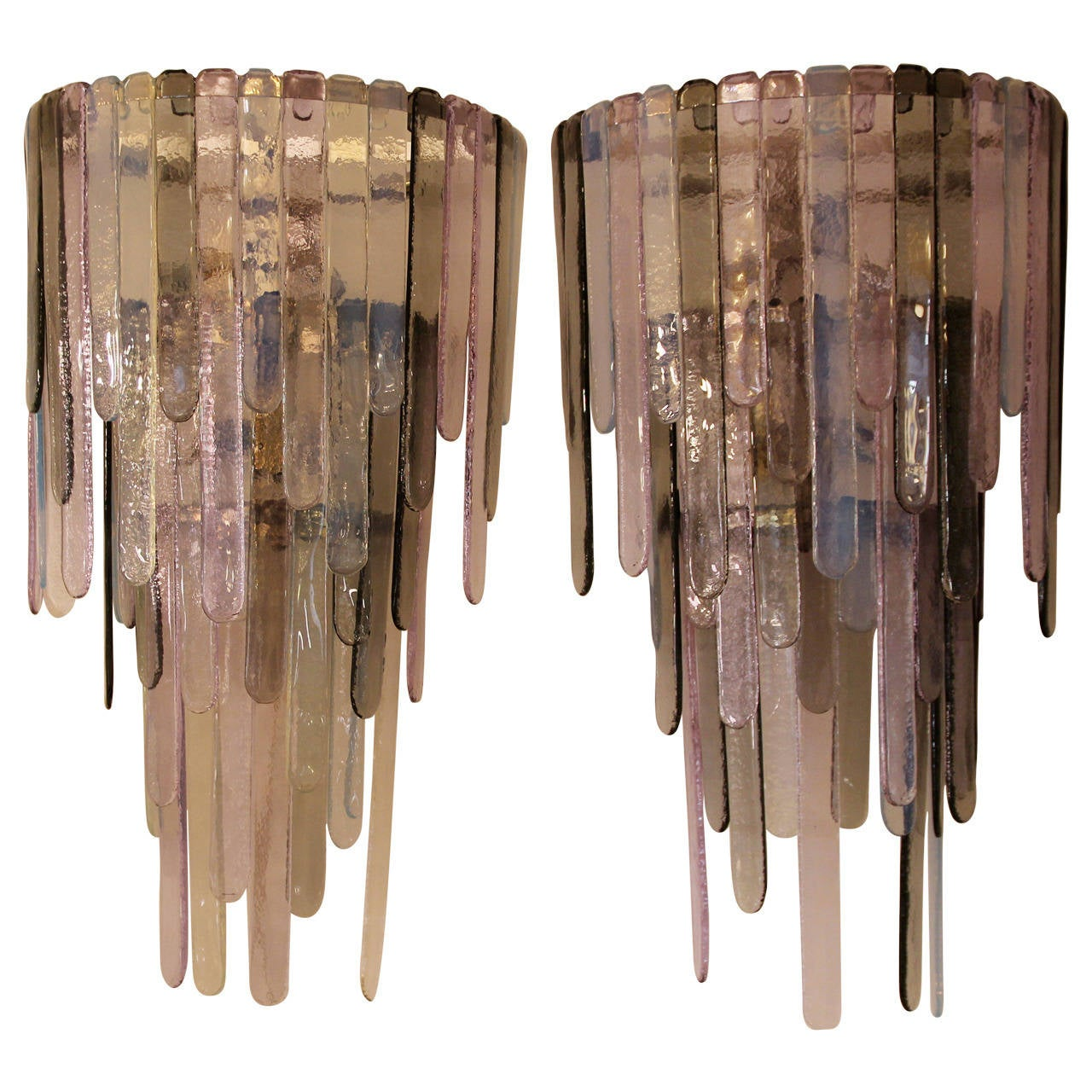 Pair of Murano Glass Sconces in the Style of Leucos, circa 2000, Italy.