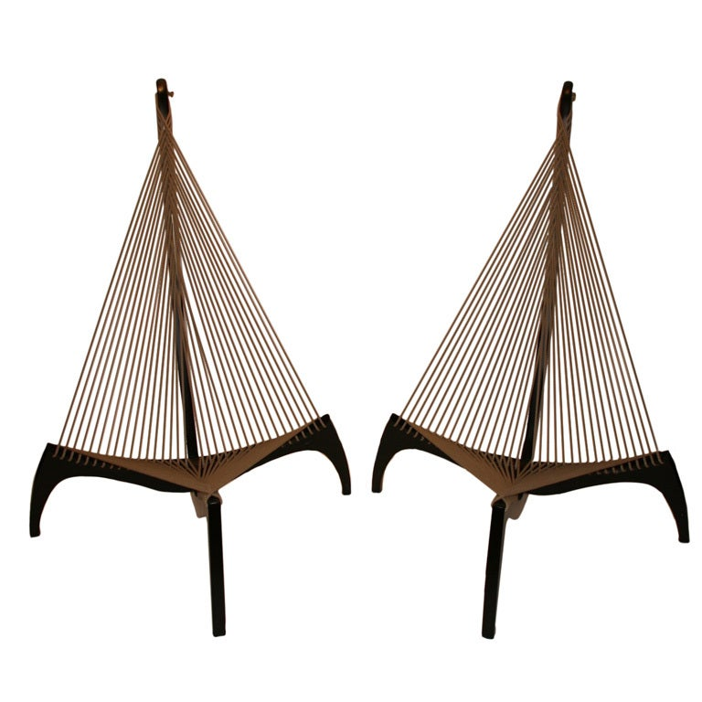 Pair Of Armchairs Rope Quot Harp Quot Jorgen Hovelskov At 1stdibs