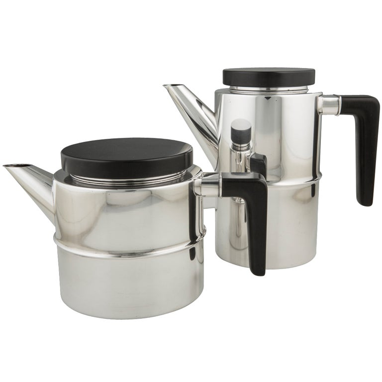 Modern Sterling Silver Georg Jensen Coffee And Teapot At