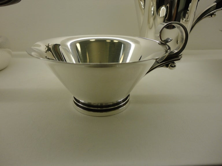 Danish Vintage Georg Jensen Sterling Silver Pyramid Coffee And Tea Set For Sale