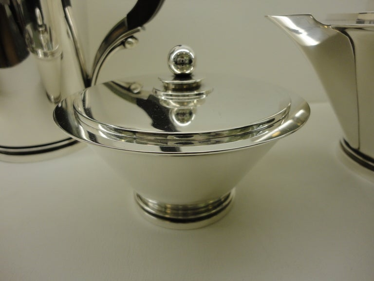Vintage Georg Jensen Sterling Silver Pyramid Coffee And Tea Set In Excellent Condition For Sale In Copenhagen, DK