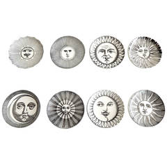 Rare Set of Sun and Moon Coasters by Fornasetti, 1960s