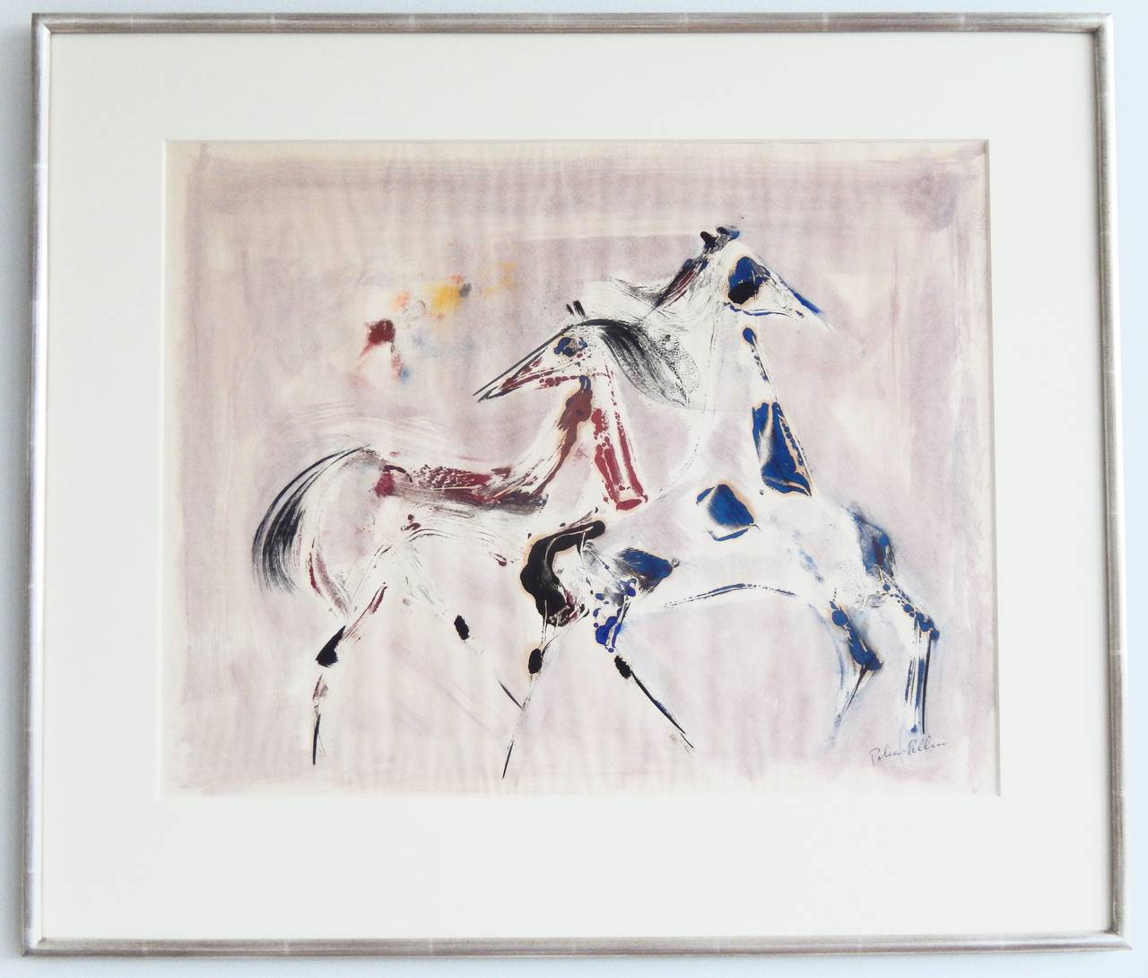 An expressive, richly-colored watercolor of prancing horses by the American painter, watercolorist, and ceramist Polia Pillin (1909-1992). Signed by the artist. Dancing horses are a popular theme in her work. Born in Poland, in 1924 Pillin