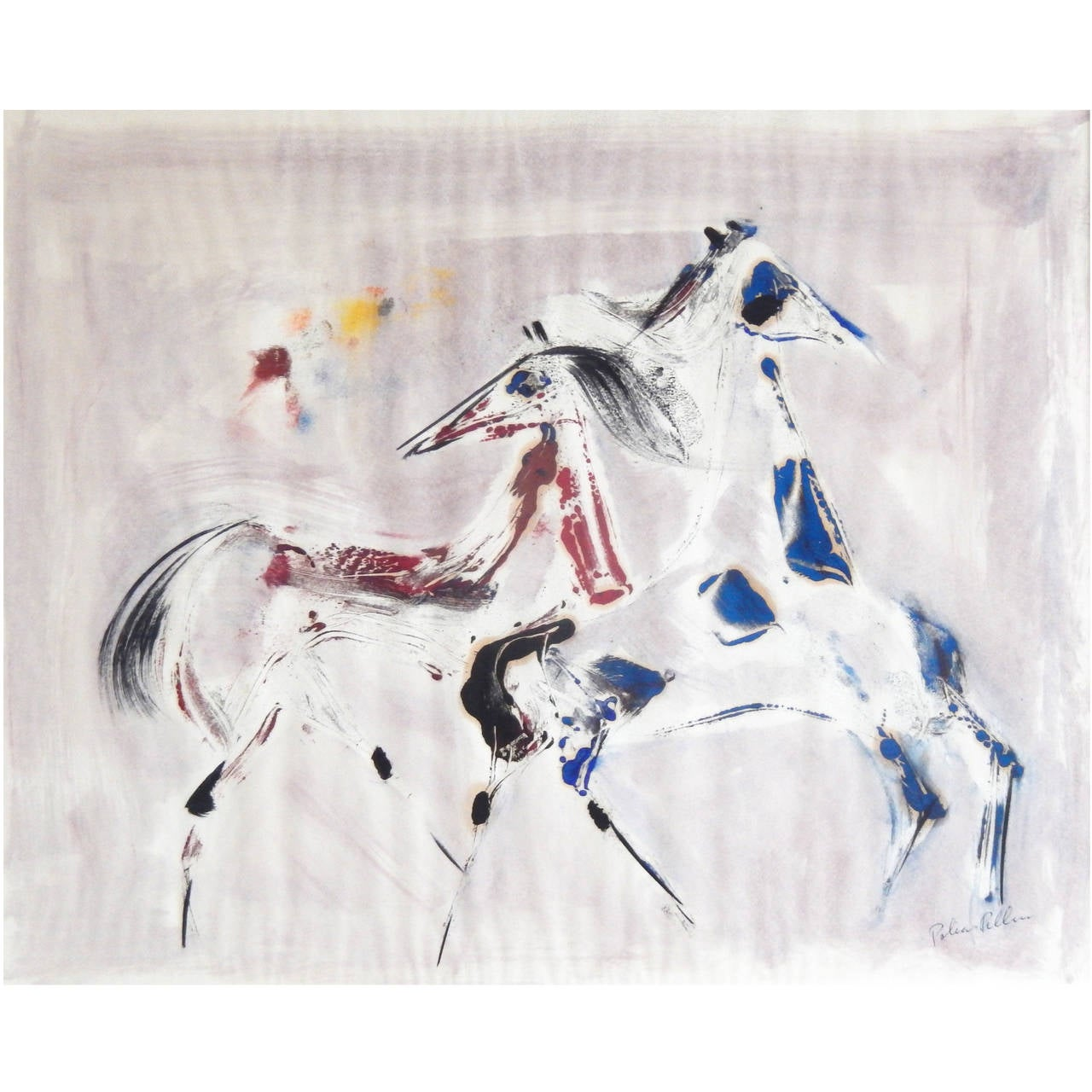 "Polia Pillin Watercolor, ""Dancing Horses,"" 1960s For Sale"