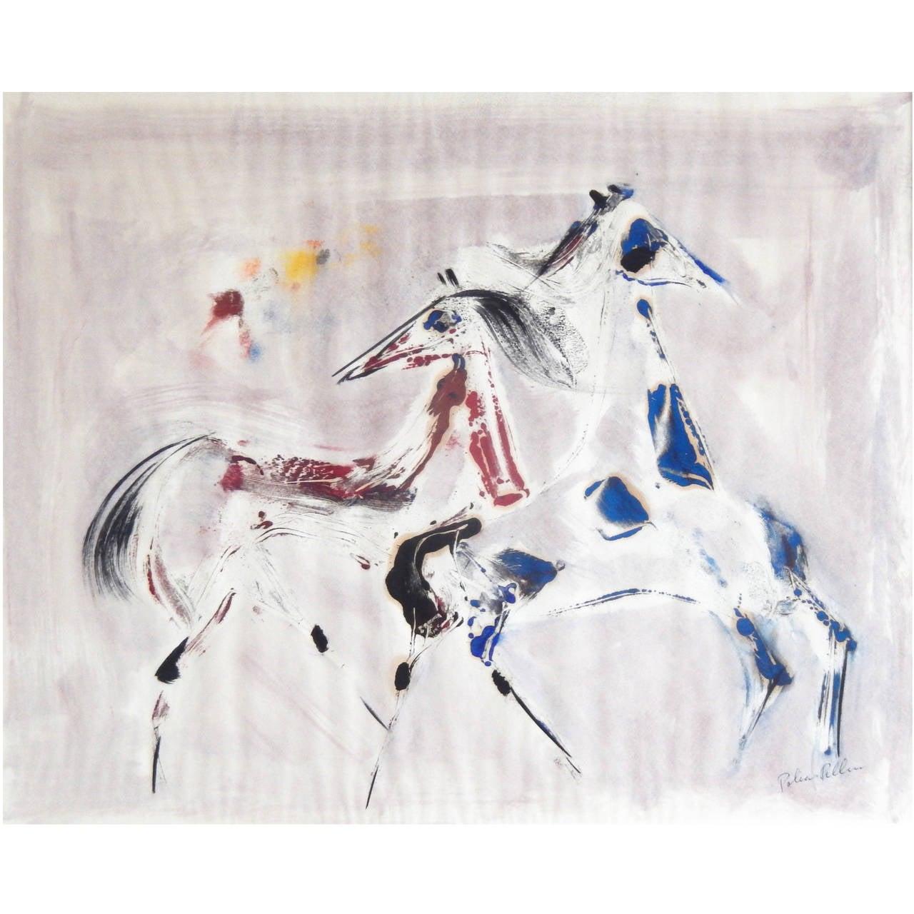 "Polia Pillin Watercolor, ""Dancing Horses,"" 1960s For Sale"