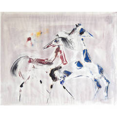 "Polia Pillin Watercolor, ""Dancing Horses,"" 1960s"