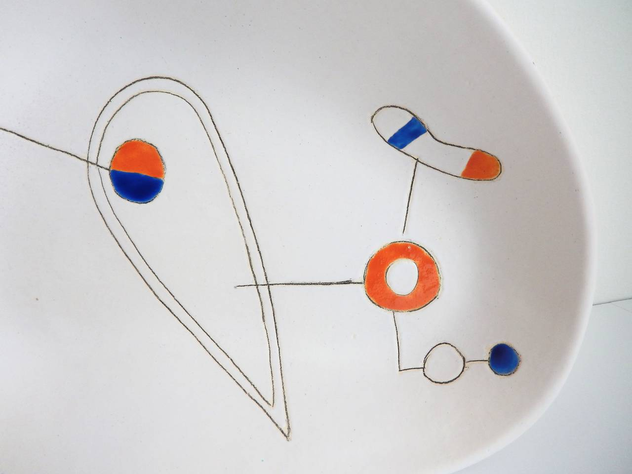 Earthenware Mid-Century Modern Ceramic Bowl by Peter Orlando For Sale
